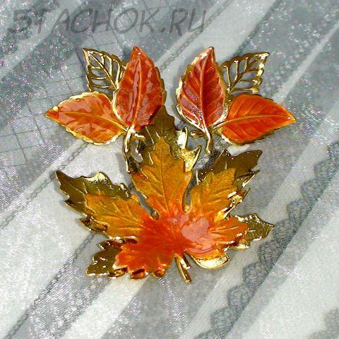 """Брошь и серьги """"Осенние листики"""" под золотую чеканку, эмаль"""