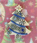 """Брошь """"Новогодняя елочка"""" под олово, блестки, эмаль, стразы"""